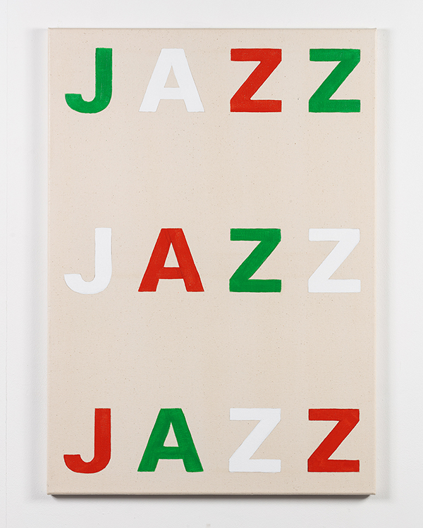 bright, variously-coloured letters spelling the word JAZZ, painted on canvas